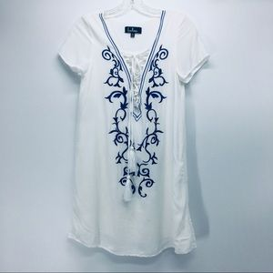 Lulu's White with Blue Embroidery Tunic Coverup